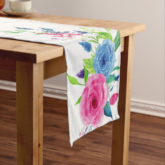 Colorful Watercolor Spring Flowers Short Table Runner