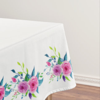 Colorful Watercolor Spring Flowers Tablecloth
