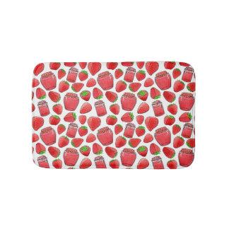 Colorful watercolor strawberries & jams bath mat