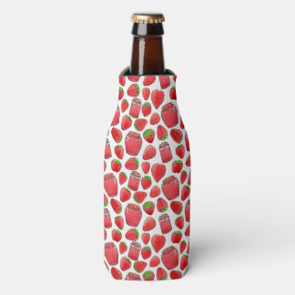 Colorful watercolor strawberries & jams bottle cooler