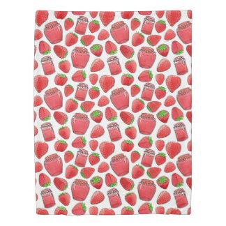 Colorful watercolor strawberries & jams duvet cover