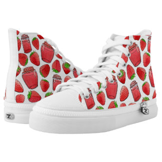 Colorful watercolor strawberries & jams high tops