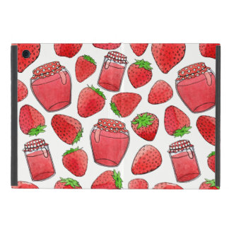 Colorful watercolor strawberries & jams iPad mini case