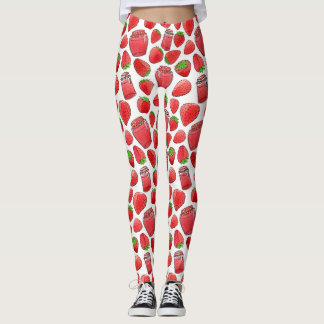 Colorful watercolor strawberries & jams leggings