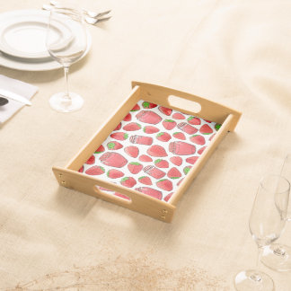 Colorful watercolor strawberries & jams serving tray