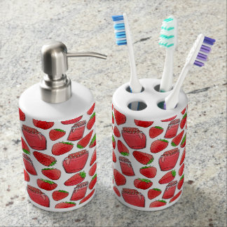 Colorful watercolor strawberries & jams soap dispenser and toothbrush holder