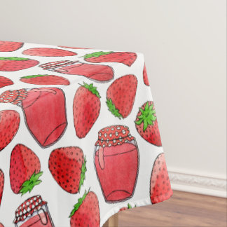 Colorful watercolor strawberries & jams tablecloth