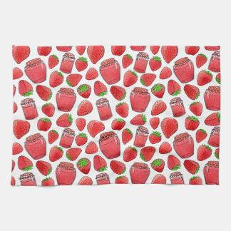 Colorful watercolor strawberries & jams towel