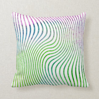 Colorful watercolor stripe swirl throw pillow