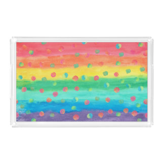 Colorful Watercolor Stripes and Spots Acrylic Tray