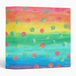 Colorful Watercolor Stripes and Spots Binders
