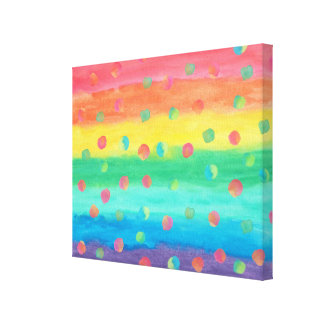 Colorful Watercolor Stripes and Spots Canvas Print