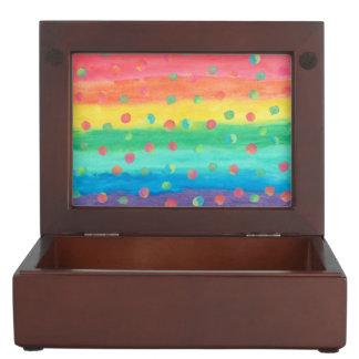 Colorful Watercolor Stripes and Spots Keepsake Box