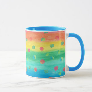 Colorful Watercolor Stripes and Spots Mug
