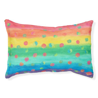 Colorful Watercolor Stripes and Spots Pet Bed