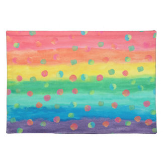 Colorful Watercolor Stripes and Spots Placemat