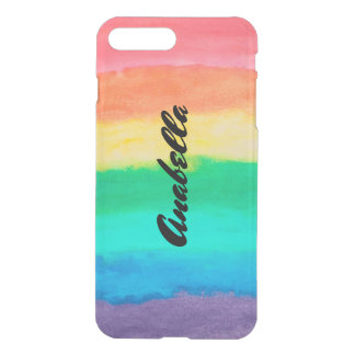 Colorful Watercolor Stripes Monogram iPhone 8 Plus/7 Plus Case