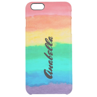 Colorful Watercolor Stripes Pattern Clear iPhone 6 Plus Case