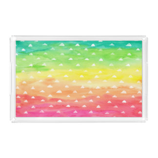 Colorful Watercolor Stripes White Triangles Acrylic Tray