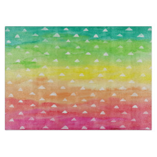 Colorful Watercolor Stripes White Triangles Boards