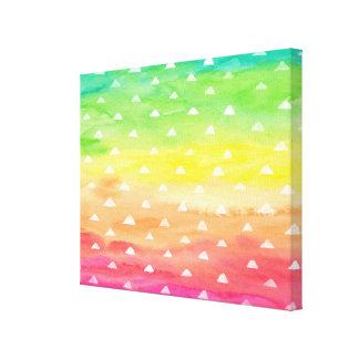 Colorful Watercolor Stripes White Triangles Canvas Print