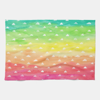 Colorful Watercolor Stripes White Triangles Kitchen Towel