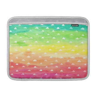 Colorful Watercolor Stripes White Triangles MacBook Sleeve