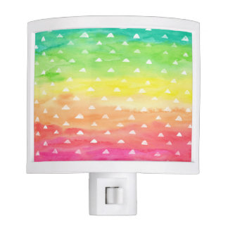 Colorful Watercolor Stripes White Triangles Night Lites