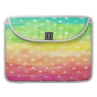 Colorful Watercolor Stripes White Triangles Sleeves For MacBook Pro