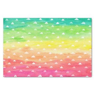 Colorful Watercolor Stripes White Triangles Tissue Paper