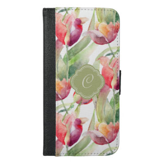 Colorful Watercolor Tulips with Custom Monogram iPhone 6/6s Plus Wallet Case