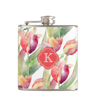 Colorful Watercolor Tulips with Monogram Hip Flask