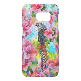 Colorful Watercolor Wild Pheasant & Pink Flowers Samsung Galaxy S7 Case