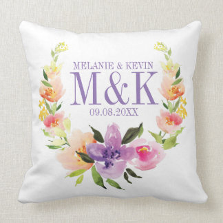Colorful Watercolors Floral Wedding Wreath Throw Pillow