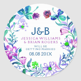 Colorful Watercolors Floral Wreath Classic Round Sticker
