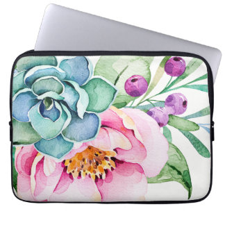 Colorful Watercolors Flowers & Green Cactus Laptop Sleeve