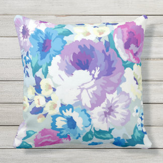 Colorful Watercolors Flowers Illustration Pattern Throw Pillow