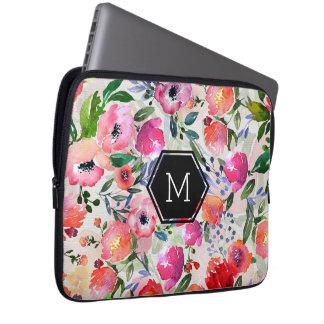 Colorful Watercolors Flowers Pattern Laptop Sleeve