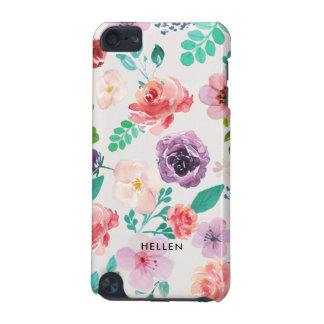 Colorful Watercolors Flowers Pattern Monogram iPod Touch (5th Generation) Cover