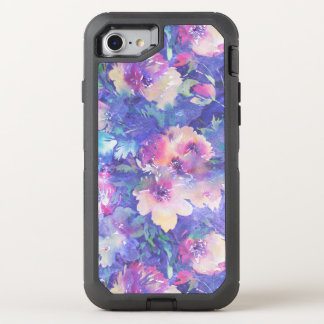 Colorful Watercolors Flowers Pattern OtterBox Defender iPhone 8/7 Case