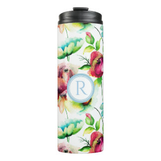 Colorful Watercolors Hand Drawn Budding Flowers Thermal Tumbler