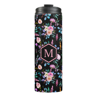 Colorful Watercolors Mixed Flowers Pattern Thermal Tumbler