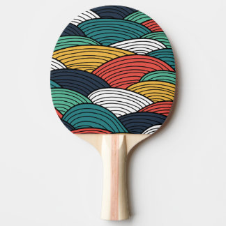 Colorful waves pattern illustration ping pong paddle