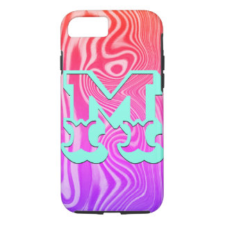 Colorful Wavy Woodgrain Art Monogrammed Case-Mate iPhone Case