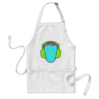 Colorful Wearing Headphones Standard Apron