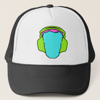 Colorful Wearing Headphones Trucker Hat