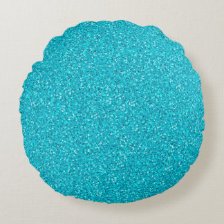 Colorful Wedding Anniversary Teal Glitter Round Pillow