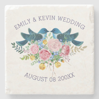 Colorful Wedding Bouquet & Love Birds Stone Coaster