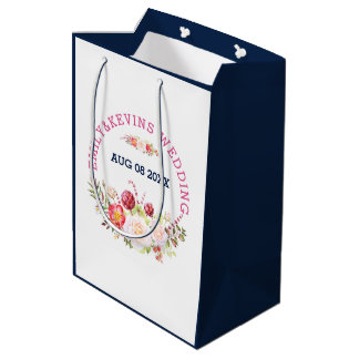 Colorful Wedding Flowers Bouquet & Text Medium Gift Bag