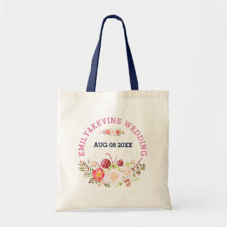 Colorful Wedding Flowers Bouquet & Text Tote Bag
